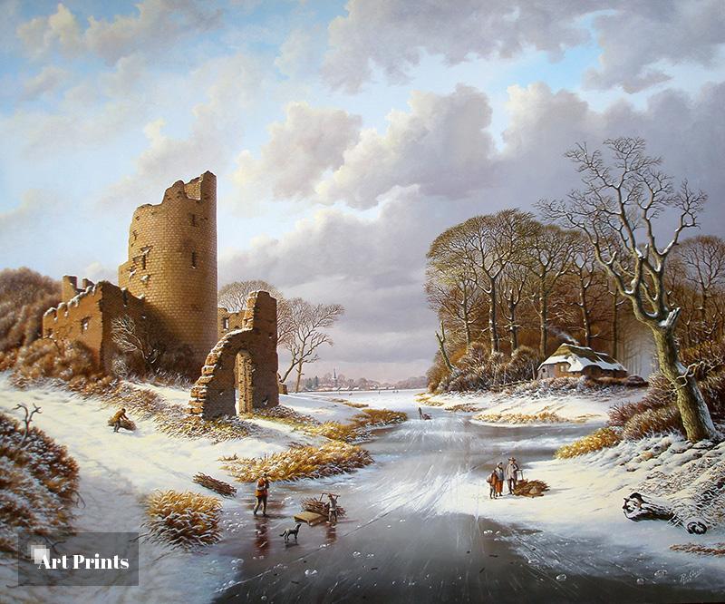 Winterlandschap met ruïne