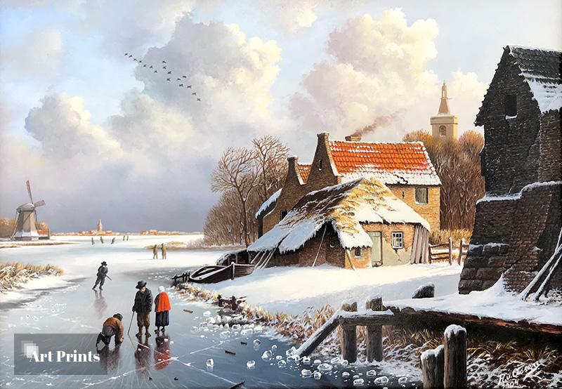 Nostalgisch winterlandschap met molen