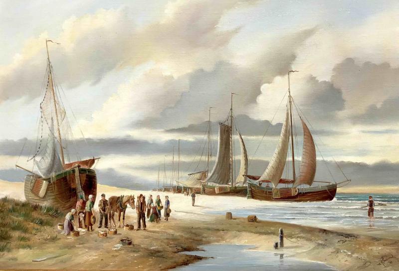 Bomschuiten en visserlui in Scheveningen