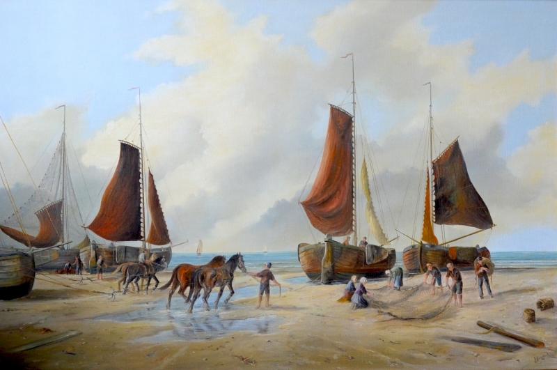 Bomschuiten met paarden op het strand