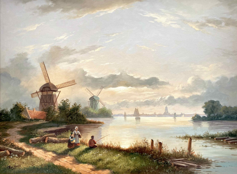 Hollands zomerlandschap met molens