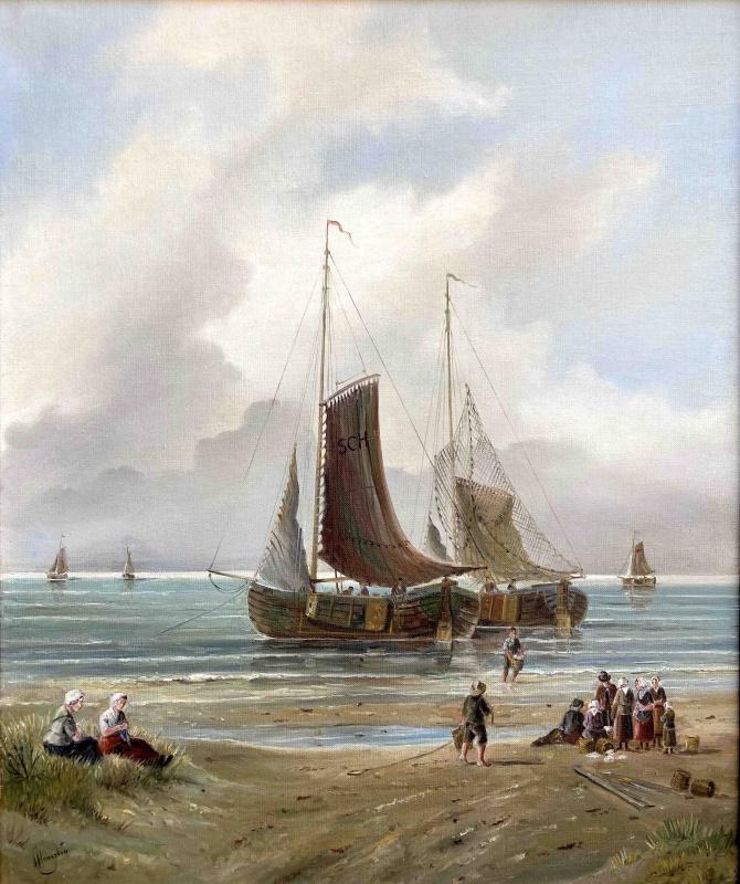 Bomschuiten op het strand van Scheveningen