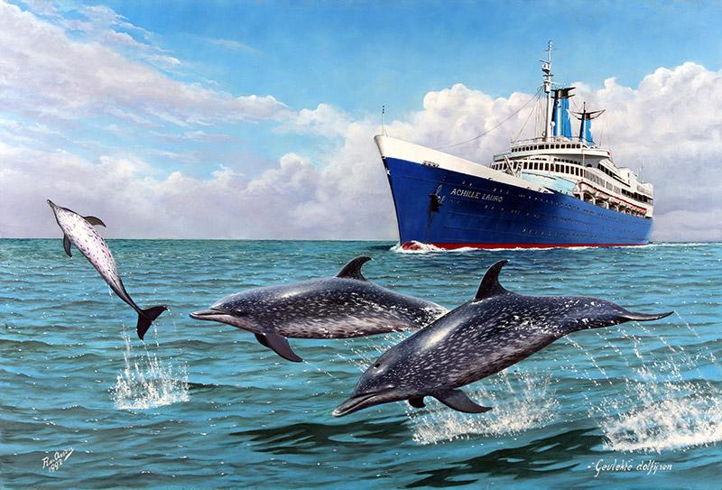 Gevlekte dolfijnen voor de Achille Lauro