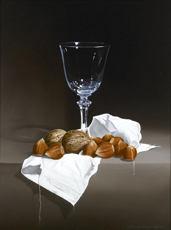 Wijnglas met hazelnoten