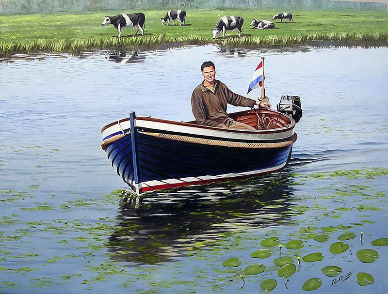 Een sloep in poldersloot