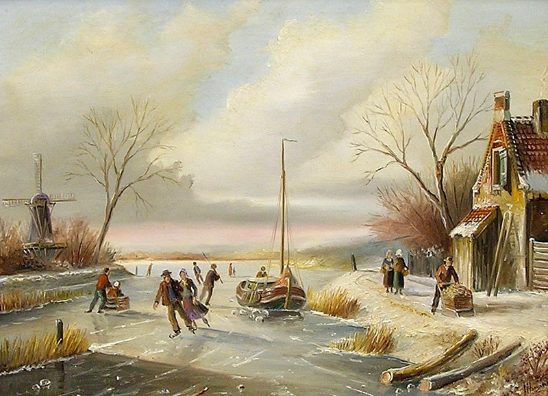 Winterlandschap  met figuren