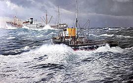 Rob van Assen schildert scheepsramp uit 1956