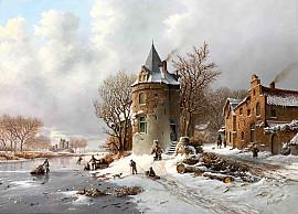 Toren langs bevroren gracht