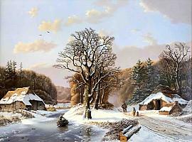 Romantisch winterlandschap met figuren