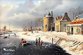 Winterlandschap met vestingtoren