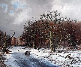 Ruïne van Brederode in winters bos