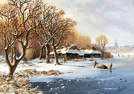 Eikenbos in winters landschap