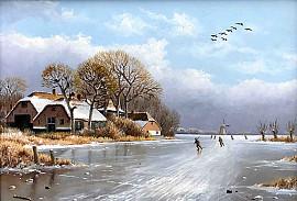 IJsgezicht met schaatsers op het ijs