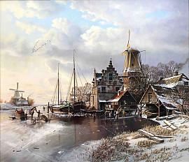 Romantisch winterlandschap met molens