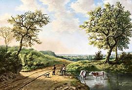 Zomerlandschap met herders en koeien