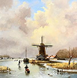 Figuren op het ijs rondom een molen