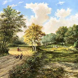 Herder en wandelaars in zomerlandschap