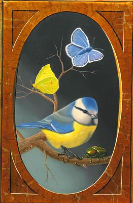 Mésange, cétoine et papillons