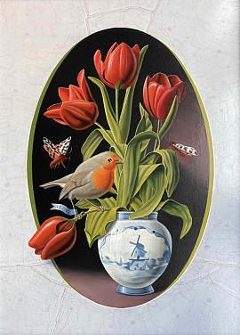 Le rouge-gorge aux tulipes
