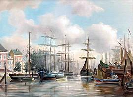 Stadsgezicht met haven