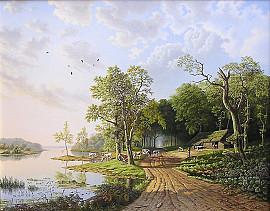 Hollands zomerlandschap met koeien