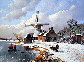 Molen in de winter met figuren