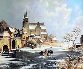 Paard en wagen op het ijs