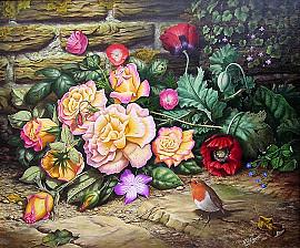 Roodborstje bij fleurige bloemen