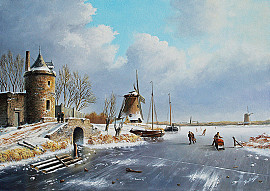 Torentje en molen in winterlandschap