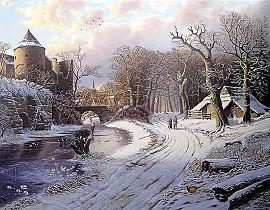 Wandelaars in winterlandschap