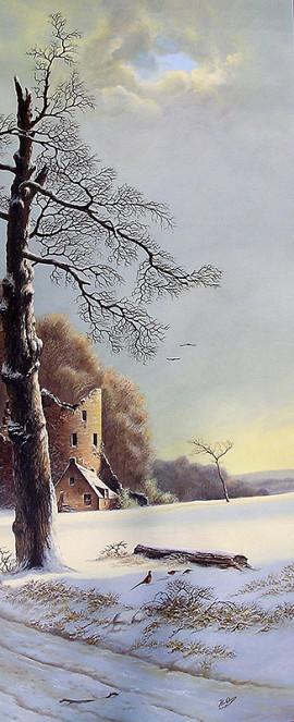 Winterlandschap met fazanten