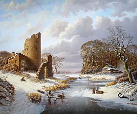 Winterlandschap met ruïne en figuren