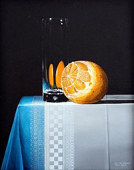 Sinaasappel met glas