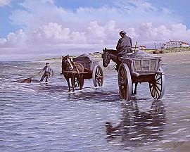 Noordwijkse schelpenvissers rond 1908