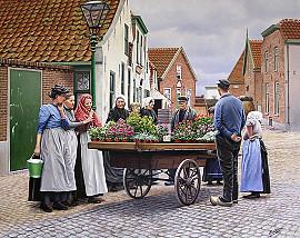 De bloemenkar in 'de Buurt' rond 1900